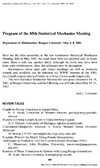 Department of Mathematics, Rutgers University — Program of the 85th Statistical Mechanics Meeting